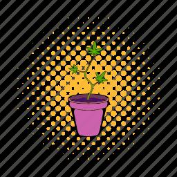 cannabis, comics, drug, growing, marijuana, plant, pot icon