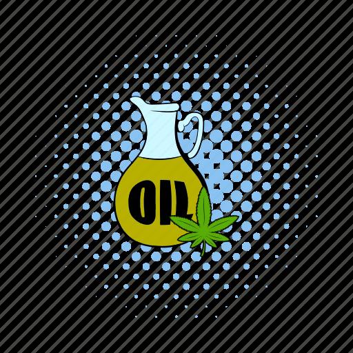 cannabis, comics, hemp, leaf, nature, oil, plant icon