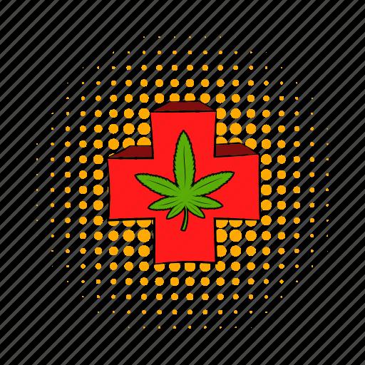 cannabis, comics, cross, ganja, grass, legal, weed icon
