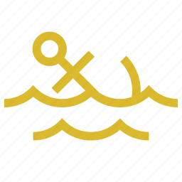 anchor, marine, sea, waves icon
