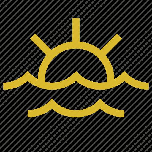 marine, sea, sun, waves icon