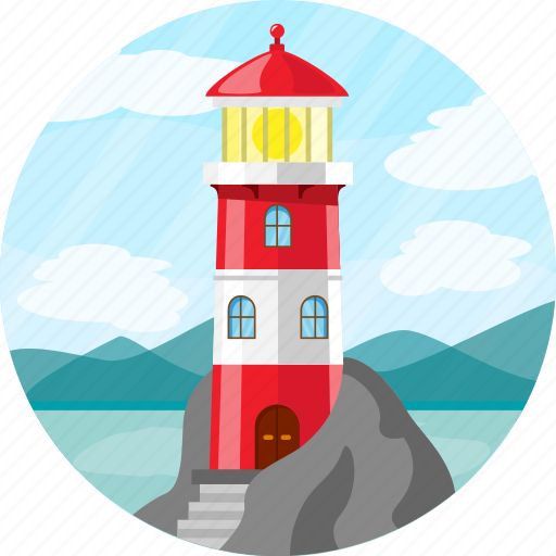 building, guide, lighthouse, nautical, water icon
