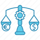 balance, budget, dollar, euro, market & economics, money icon
