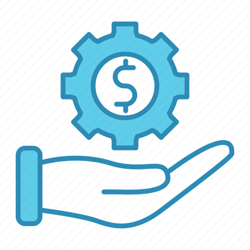 currency, gear, hand, making, market & economics, money icon