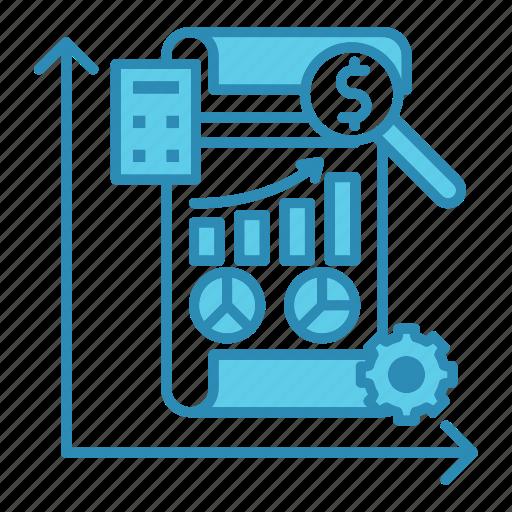 analysis, chart, graph, market, market & economics, report icon