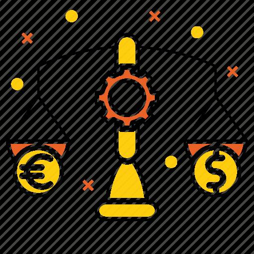balance, budget, dollar, euro, market & economics, money, scale icon
