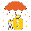 funds, market & economics, money, protection, save, security, umbrella icon