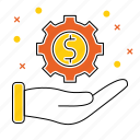 currency, gear, hand, making, market & economics, money, payment icon