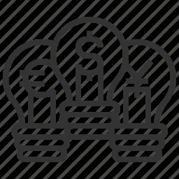 bulb, currency, dollar, euro, finance, idea, money icon