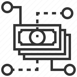 business, currency, dollar, finance, flow, money, shopping icon