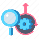 competitive, magnifier, research, intelligence icon
