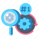magnifier, primary, priority, research icon