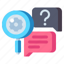chat, magnifier, research, qualitative icon
