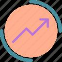 increase, marketing, circle, market, valor icon