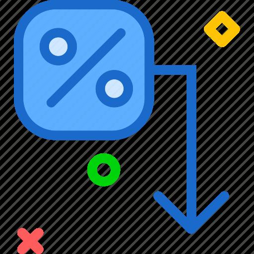 check, decrease, downrate, percent, sales icon