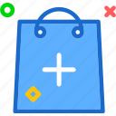 bag, buy, cart, plus, purchase, shopping icon