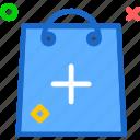 bag, buy, cart, plus, purchase, shopping
