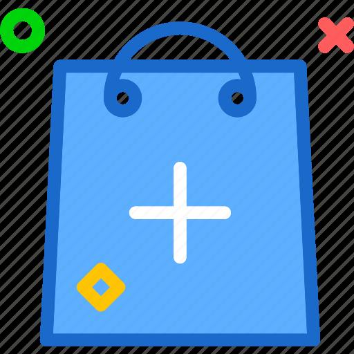 bag, buy, cart, plus, purchase, shopping icon