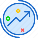 circle, increase, market, marketing, valor icon