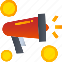advertise, coin, marketing, megaphone, money, shopping icon