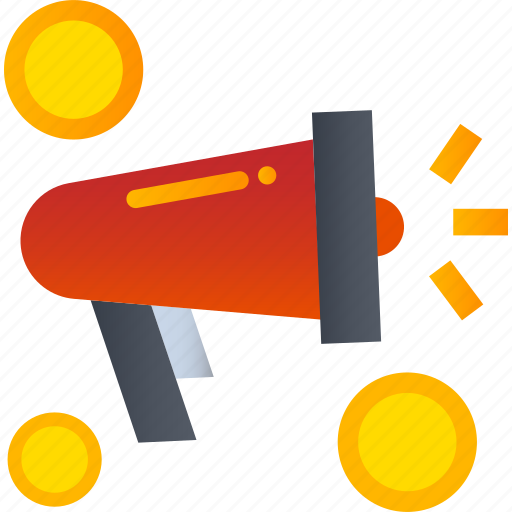 advertise, coin, marketing, megaphone, money, shopping icon