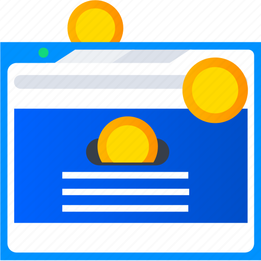 advertise, browser, coin, marketing, money, shopping icon