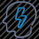 bolt, brain-storm, head, idea, lightning, profile, smart