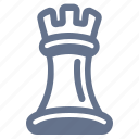 chess, game, piece, play, strategy, tactics, tower icon