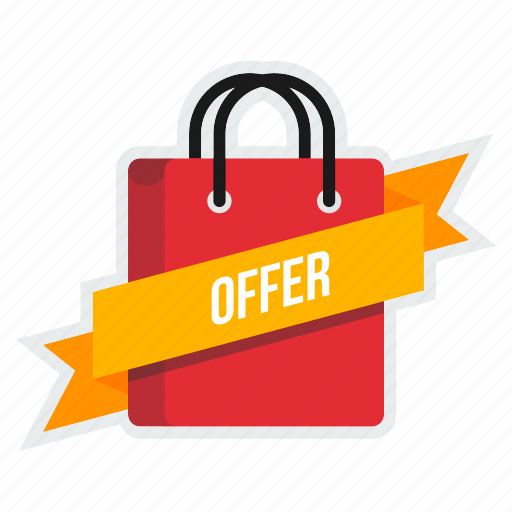 bag, carry, cart, offer, online, ribbon, shopping icon