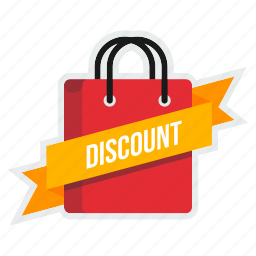 bag, carry, cart, discount, online, ribbon, shopping icon