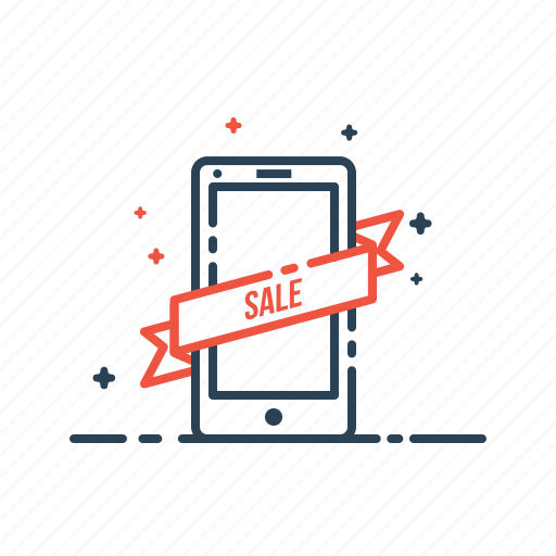 label, mobile, online, ribbon, sale, shopping, sticker icon