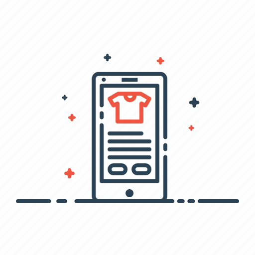 application, garment, mobile, online, product, shopping, store icon