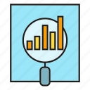analytics, data, document, magnifier, stats icon