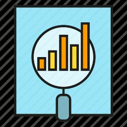 analytics, data, document, magnifier, stats icon