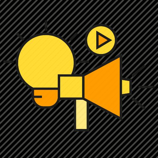 announce, creative, light bulb, media, megaphone, video icon