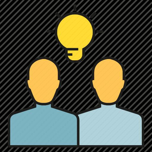 brainstorm, bulb, creative, idea, people, think icon