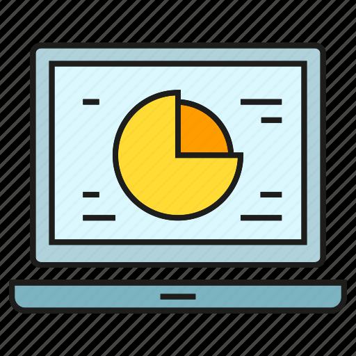 data, laptop, market share, pie chart, stats icon