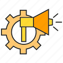 advertising, announce, cog, gear, marketing, megaphone icon