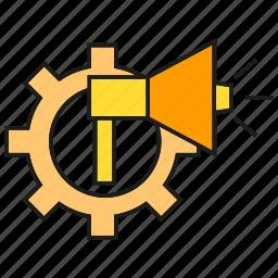 advertising, announce, cog, gear, marketing, megaphone icon