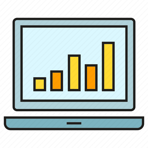 bar chart, computer, data, graph, laptop, stats icon