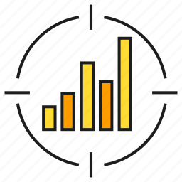 analytics, bar chart, data, focus, graph, stats, target icon