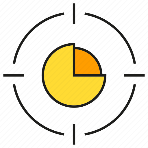 focus, graph, market share, pie chart, stats, target icon