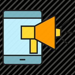 advertising, announce, marketing, megaphone, mobile, phone icon