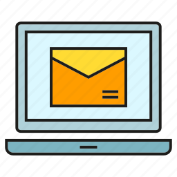 computer, email, envelope, laptop, marketing, send icon