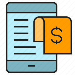 mobile, money, payment, phone, receipt, shopping icon