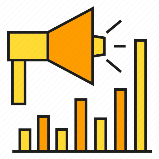 business, campaign, finance, graph, marketing, megaphone, stats icon