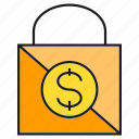 buy, dollar, money, promotion, sale, shopping bag icon
