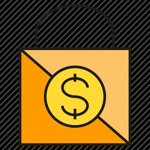 buy, dollar, money, promotion, sale, shopping bag icon