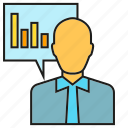 business man, finance, people, presentation, report, stats icon