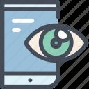 advertising, eye, impression, marketing campaign, mobile, seo, view icon